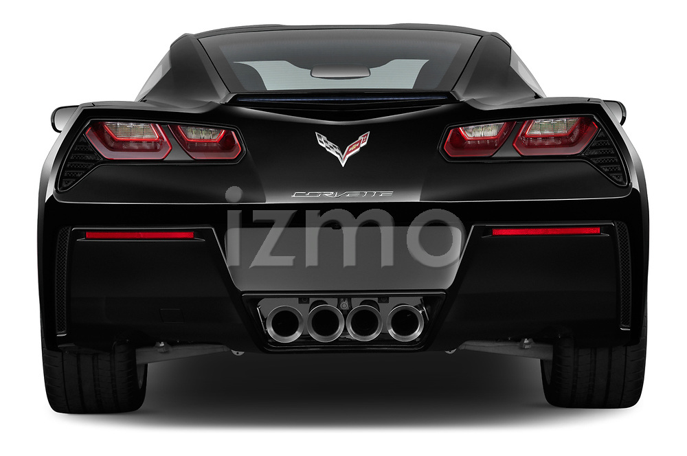 Straight rear view of a 2019 Chevrolet Corvette Stingray Coupe 2LT 3 Door Targa stock images