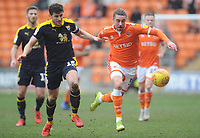 Blackpool's Antony Evans under pressure from Oxford United's John Mousinho<br /> <br /> Photographer Kevin Barnes/CameraSport<br /> <br /> The EFL Sky Bet League One - Blackpool v Oxford United - Saturday 23rd February 2019 - Bloomfield Road - Blackpool<br /> <br /> World Copyright © 2019 CameraSport. All rights reserved. 43 Linden Ave. Countesthorpe. Leicester. England. LE8 5PG - Tel: +44 (0) 116 277 4147 - admin@camerasport.com - www.camerasport.com