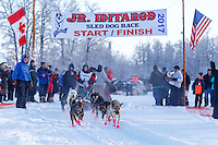 Katie Deits leaves the start line at Knik during the start of the Junior Iditarod on Saturday February 25, 2017. <br /> <br /> <br /> Photo by Jeff Schultz/SchultzPhoto.com  (C) 2017  ALL RIGHTS RESVERVED