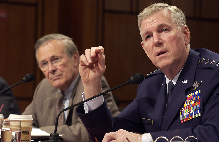 Defense Secretary Donald Rumsfeld and Gen. Richard Myers, chairman, Joint Chiefs of Staff during the Defense Subcommittee hearing on FY2005 appropriations for Defense Department..