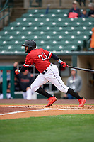 Rochester Red Wings Jordany Valdespin (23) at bat during an International League game against the Charlotte Knights on June 16, 2019 at Frontier Field in Rochester, New York.  Rochester defeated Charlotte 11-5 in the first game of a doubleheader that was a continuation of a game postponed the day prior due to inclement weather.  (Mike Janes/Four Seam Images)