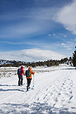 USA, Wyoming, Yellowstone National Park, cross country skiers head out on a trail at Tower Junction near the Roosevelt Lodge