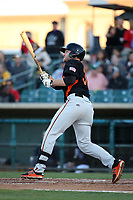 Heath Quinn (38) of the San Jose Giants bats against the Lancaster JetHawks at The Hanger on May 5, 2017 in Lancaster, California. San Jose defeated Lancaster, 4-2. (Larry Goren/Four Seam Images)