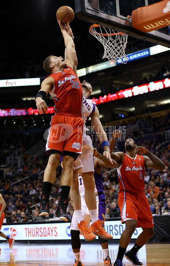 Jan. 24, 2013; Phoenix, AZ, USA: Los Angeles Clippers forward Blake Griffin (32) against the Phoenix Suns at the US Airways Center. The Suns defeated the Clippers 93-88. Mandatory Credit: Mark J. Rebilas-USA TODAY Sports