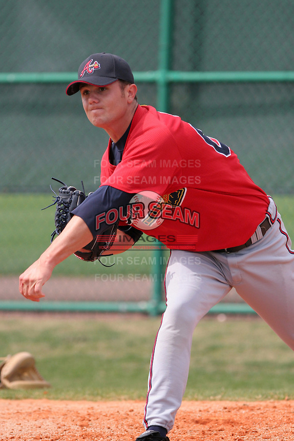Atlanta Braves minor leaguer Lee Hyde during Spring Training at Disney's Wide World of Sports on March 14, 2007 in Orlando, Florida.  (Mike Janes/Four Seam Images)