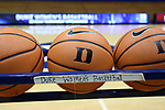 DURHAM, NC - NOVEMBER 05: Practice balls. The Duke University Blue Devils hosted the University of Alaska Anchorage Seawolves on November 5, 2017 at Cameron Indoor Stadium in Durham, NC in a Division I women's college basketball preseason exhibition game. Duke won the game 87-56.