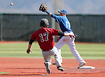 Western Nevada's Tyler Baker makes the out against a Colorado Northwestern runner in a college baseball game in Carson City, Nev., on Sunday, March 10, 2013. WNC swept the weekend series 4-0..Photo by Cathleen Allison/Nevada Photo Source