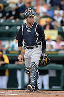 Catcher Austin Romine (53) of the New York Yankees during a spring training game against the Pittsburgh Pirates on February 26, 2014 at McKechnie Field in Bradenton, Florida.  Pittsburgh defeated New York 6-5.  (Mike Janes/Four Seam Images)