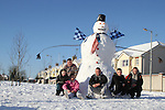 Luke Kelly, Rachel Kelly, Roslyn O'Neill, Gary Keane, Paul Kelly, Liam Kelly who made this 20ft Snowman with the help of baby Jack Kerr, Laryx Court, Duleek 2/12/10..(Photo credit should read Jenny Matthews www.newsfile.ie)....This Picture has been sent you under the conditions enclosed by:.Newsfile Ltd..The Studio,.Millmount Abbey,.Drogheda,.Co Meath..Ireland..Tel: +353(0)41-9871240.Fax: +353(0)41-9871260.GSM: +353(0)86-2500958.email: pictures@newsfile.ie.www.newsfile.ie.