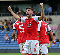 Ched Evans celebrates scoring the opening goal <br /> <br /> Photographer David Shipman/CameraSport<br /> <br /> The EFL Sky Bet League One - Oxford United v Fleetwood Town - Saturday August 11th 2018 - Kassam Stadium - Oxford<br /> <br /> World Copyright &copy; 2018 CameraSport. All rights reserved. 43 Linden Ave. Countesthorpe. Leicester. England. LE8 5PG - Tel: +44 (0) 116 277 4147 - admin@camerasport.com - www.camerasport.com