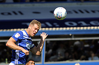 Michael Morrison of Birmingham City heads the aerial ball during Birmingham City vs Norwich City, Sky Bet EFL Championship Football at St Andrews on 4th August 2018