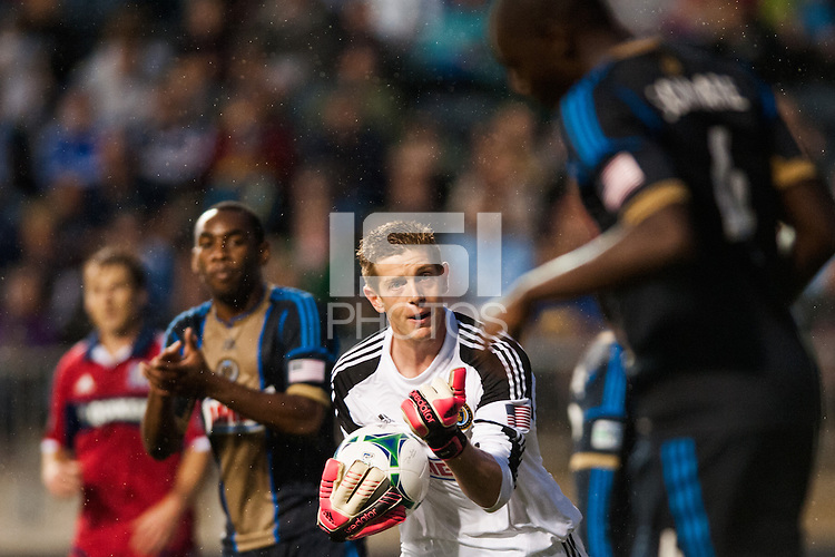 Philadelphia Union goalkeeper Zac MacMath (18) encourages Bakary Soumare (4). The Philadelphia Union defeated the Chicago Fire 1-0 during a Major League Soccer (MLS) match at PPL Park in Chester, PA, on May 18, 2013.