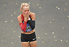 Shalane Flanagan reacts after winning the women's competition in the TCS New York City Marathon on Sunday, Nov. 5, 2017. She posted a time of 2:26.53 and became the first American born female in 40 years to claim a victory in the city's race.