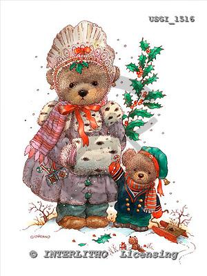 GIORDANO, CHRISTMAS ANIMALS, WEIHNACHTEN TIERE, NAVIDAD ANIMALES, Teddies, paintings+++++,USGI1516,#XA#