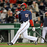 29 March 2008: Washington Nationals' outfielder Elijah Dukes at bat during an exhibition game against the Baltimore Orioles at Nationals Park, in Washington, DC. The matchup was the first professional baseball game played in the new Nationals Park, prior to the upcoming official opening day inaugural game. The Nationals defeated the Orioles 3-0...Mandatory Photo Credit: Ed Wolfstein Photo