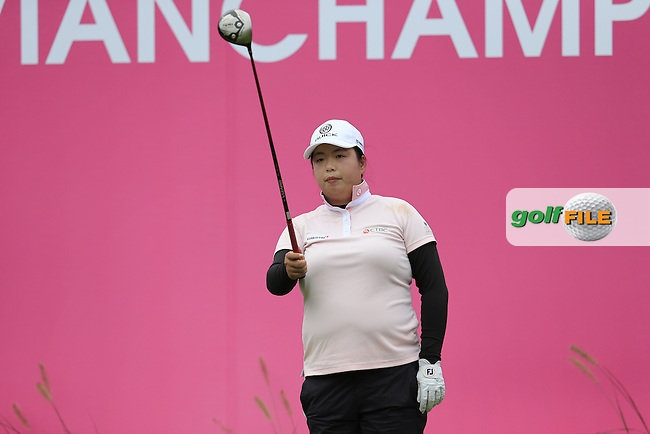 Shanshan Feng (CHN) on the 1st tee to start her match during Saturday's Round 3 of The 2016 Evian Championship held at Evian Resort Golf Club, Evian-les-Bains, France. 17th September 2016.<br /> Picture: Eoin Clarke   Golffile<br /> <br /> <br /> All photos usage must carry mandatory copyright credit (&copy; Golffile   Eoin Clarke)