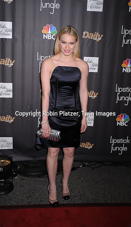 "Leven Rambin in Celine dress.at The ""Lipstick Jungle"" party for the premiere of the new NBC Show at Saks Fifth Avenue on January 31, 2008 in .New York City. .Robin Platzer, Twin Images"
