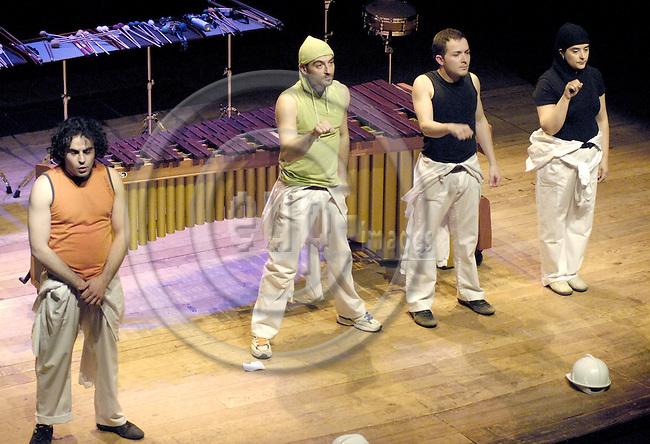 Brussels-Belgium - 16 March 2007---Performance of MarimB'UM by Grupo PERKUSTRA (www.perkustra.com); here, from left to right: Javier HERRERO, Antonio DOMINGO, Josep FURIÓ (Furio), Ruth PRIETO---Photo: Horst Wagner/eup-images