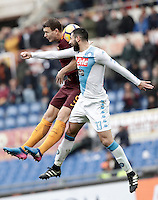 Roma&rsquo;s Edin Dzeko, left, and Napoli&rsquo;s Raul Albiol jump for the ball during the Italian Serie A football match between Roma and Napoli at Rome's Olympic stadium, 4 March 2017. <br /> UPDATE IMAGES PRESS/Isabella Bonotto