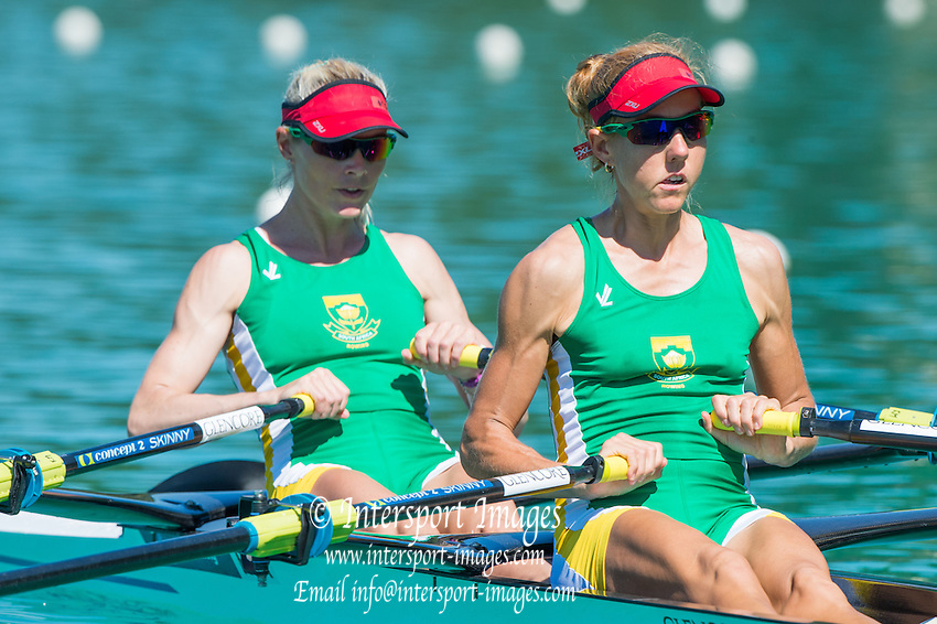 Aiguebelette, FRANCE, RSA LW2X. bow. <br />  Kirsten MCCANN and Ursula GROBLER. 2015 FISA World Rowing Championships, <br /> Venue, Lake Aiguebelette - Savoie. <br /> Sunday  30/08/2015  [Mandatory Credit. Peter SPURRIER/Intersport Images].