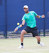 June 14th 2017, Nottingham, England; ATP Aegon Nottingham Open Tennis Tournament day 5;  Yuki Bhambri of India in action against Thomas Fabbiano of Italy
