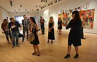 NWA Democrat-Gazette/ANDY SHUPE<br /> Independent curator Candice Hopkins speaks Thursday, Oct. 4, 2018, during a tour of a new exhibition of artwork by Native American artists at Crystal Bridges Museum of American Art in Bentonville. The exhibition, titled &quot;Art for a New Understanding: Native Voices, 1950s to Now,&quot; opens today and runs through Jan. 7, 2019.