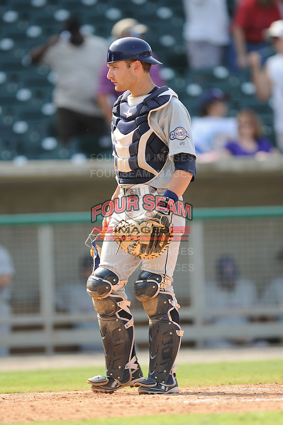 Jonathon Lucroy Catcher Huntsville Stars (Milwaukee Brewers) awaits the start of an inning during the Southern League Playoffs at Smokies Park in Sevierville, TN September 13, 2009 (Photo by Tony Farlow/ Four Seam Images)