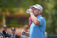 Tyrell Hatton (ENG) rehydrates on the tee on 16 during 1st round of the 100th PGA Championship at Bellerive Country Club, St. Louis, Missouri. 8/9/2018.<br /> Picture: Golffile | Ken Murray<br /> <br /> All photo usage must carry mandatory copyright credit (© Golffile | Ken Murray)