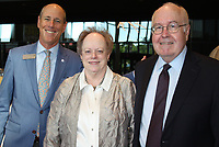 NWA Democrat-Gazette/CARIN SCHOPPMEYER Peter Lane (left) and Mary Ann and Reed Greenwood mark the Walton Arts Center's anniversary.