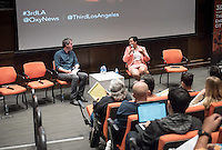 "Christopher Hawthorne's students host as Third Los Angeles continues with ""Homelessness and the Right to the City"" featuring: Professor Peter Dreier; Alisa Orduna, Director of Homelessness Policy for L.A. Mayor Eric Garcetti; José Ramirez, Executive Director of St. Francis Center in Downtown L.A.; Peter Jamison, reporter for the LA Times; Elvis Summers of Tiny House Huge Purpose; Charles Porter, advocate for people in the Skid Row area, United Coalition East Prevention Project (UCEPP); and Eric Ares, Community Organizer and Communications Coordinator for Los Angeles Community Action Network (LA CAN). April 6, 2016 in Choi Auditorium.<br /> (Photo by Marc Campos, Occidental College Photographer)"