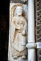 Sculpture on the main portal of St Peter, Basilica Church of Santa Maria Maggiore, Tuscania