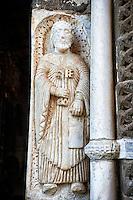 Sculpture on the main portal of St Peter, Basilica Church of Santa Maria Maggiore, Tuscania