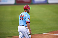 Peoria Chiefs manager Erick Almonte (44) during a Midwest League game against the Bowling Green Hot Rods at Dozer Park on May 5, 2019 in Peoria, Illinois. Peoria defeated Bowling Green 11-3. (Zachary Lucy/Four Seam Images)