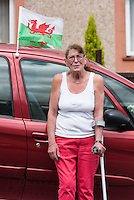 STORY BY STEVEN MORRIS SWANSEA, UK. 5th July 2015. Ann Williams, resident of Mayhill, the area of Swansea that Wales manager Chris Coleman comes from.