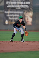 Max Dutto (6) of the Great Falls Voyagers on defense against the Ogden Raptors at Lindquist Field on August 16, 2017 in Ogden, Utah. The Voyagers defeated the Raptors 11-6. (Stephen Smith/Four Seam Images)