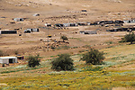 A general view shows the Bedouin Palestinian village Ein al-Uja, close to the West Bank city of Jericho, April 27, 2019. Israeli bulldozers had demolished the village in several times, but villagers said that they insist on remaining in their village. Photo by Ayat Arqawy