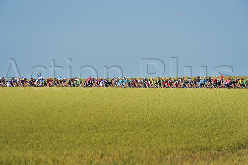 09.07.2015 Le Havre, France.  A general view of the peloton during stage 6 of the 102nd edition of the Tour de France 2015 with start in Abbeville and finish in Le Havre, France (191 kms)