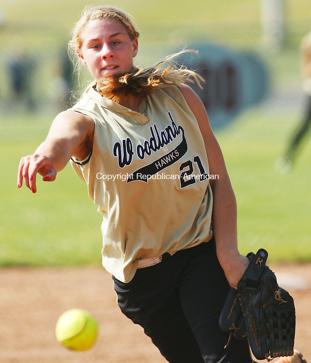 Naugatuck, CT-27, May 2010-052710CM06  Woodland's Katie Alfiere delivers a pitch, Thursday afternoon at Naugatuck High School.  Alfiere lead Woodland to a 4-2 NVL Championship over against Seymour.  --Christopher Massa Republican-American