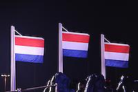 OLYMPICS: SOCHI: Medal Plaza, 19-02-2014, Men 10.000m, Nederlandse vlaggen, ©photo Martin de Jong