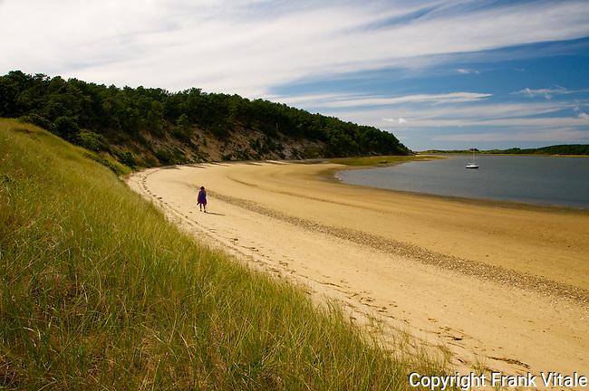 Hiker on Great Island Trail, Wellfleet, MA