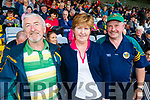 Jim O'Sullivan, Ballybunion, Marie and Gabriel O'Sullivan Kilgarvan and  Kerry supporters for the double header in Portlaoise on Saturday.