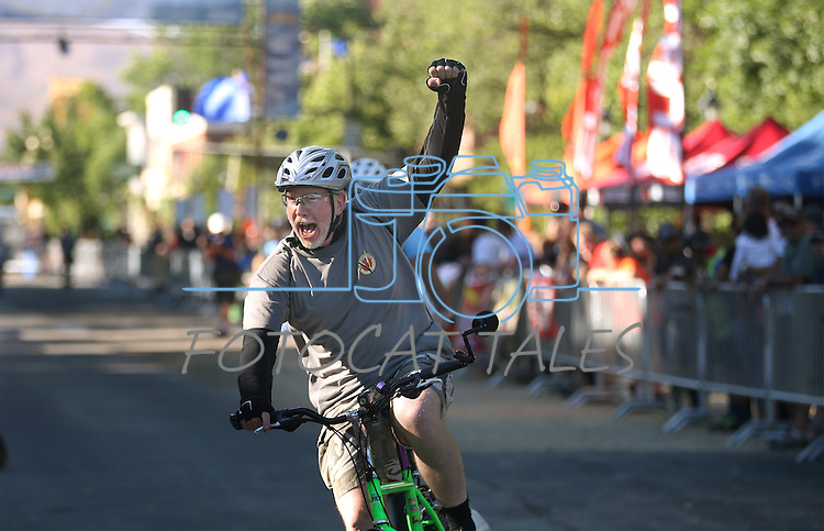Riders participate in the Epic Rides Carson City Off-Road Klunker Crit in Carson City, Nev., on Friday, June 17, 2016.<br />