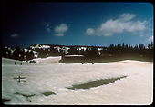 View of Cumbres Pass in snow with snowshed in background.<br /> D&amp;RGW  Cumbres Pass, CO
