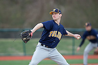 Toledo Rockets relief pitcher Ross Achter (14) in action against the Virginia Tech Hokies at The Ripken Experience on February 28, 2015 in Myrtle Beach, South Carolina.  The Hokies defeated the Rockets 1-0 in 10 innings.  (Brian Westerholt/Four Seam Images)