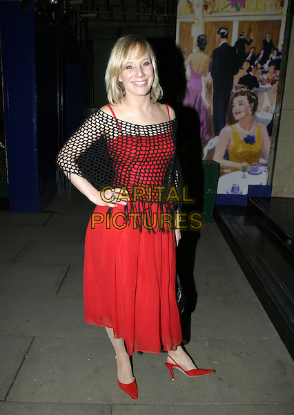 KIRSTEN O'BRIEN.The RTS Programme Awards at Grosvenor House.Royal Television Society Awards.March 15th, 2005.full length red dress shoes black crochet shawl hands on hips.www.capitalpictures.com.sales@capitalpictures.com.© Capital Pictures.