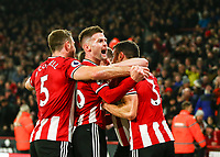 24th November 2019; Bramall Lane, Sheffield, Yorkshire, England; English Premier League Football, Sheffield United versus Manchester United; Oliver Norwood  of Sheffield United celebrates after John Fleck scores in the 19th minute to make it 1-0 with Jack O'Connell and Enda Stevens  of Sheffield United joining in  - Strictly Editorial Use Only. No use with unauthorized audio, video, data, fixture lists, club/league logos or 'live' services. Online in-match use limited to 120 images, no video emulation. No use in betting, games or single club/league/player publications