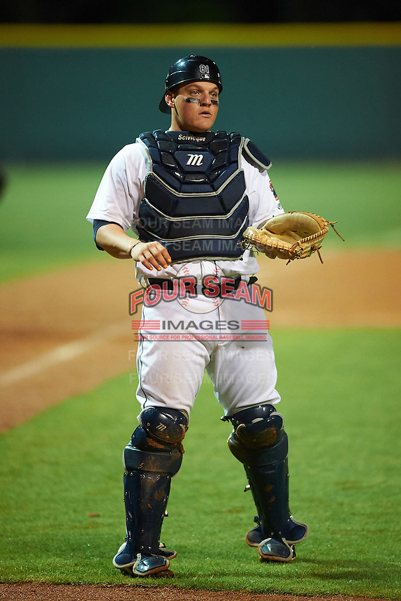 Lakeland Flying Tigers catcher Kade Scivicque (28) during a game against the Jupiter Hammerheads on March 14, 2016 at Henley Field in Lakeland, Florida.  Lakeland defeated Jupiter 5-0.  (Mike Janes/Four Seam Images)