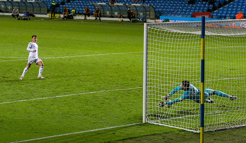 Leeds United's Jamie Shackleton sees his penalty saved by Hull City's Matt Ingram<br /> <br /> Photographer Alex Dodd/CameraSport<br /> <br /> Carabao Cup Second Round Northern Section - Leeds United v Hull City -  Wednesday 16th September 2020 - Elland Road - Leeds<br />  <br /> World Copyright © 2020 CameraSport. All rights reserved. 43 Linden Ave. Countesthorpe. Leicester. England. LE8 5PG - Tel: +44 (0) 116 277 4147 - admin@camerasport.com - www.camerasport.com