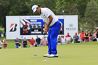 Hideki Matsuyama (JPN) birdie putt on the 9th green during Sunday's Final Round of the WGC Bridgestone Invitational 2017 held at Firestone Country Club, Akron, USA. 6th August 2017.<br /> Picture: Eoin Clarke | Golffile<br /> <br /> <br /> All photos usage must carry mandatory copyright credit (&copy; Golffile | Eoin Clarke)