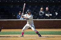 Joey Rodriguez (8) of the Wake Forest Demon Deacons at bat against the Virginia Tech Hokies at Wake Forest Baseball Park on March 7, 2015 in Winston-Salem, North Carolina.  The Hokies defeated the Demon Deacons 12-7 in game one of a double-header.   (Brian Westerholt/Four Seam Images)